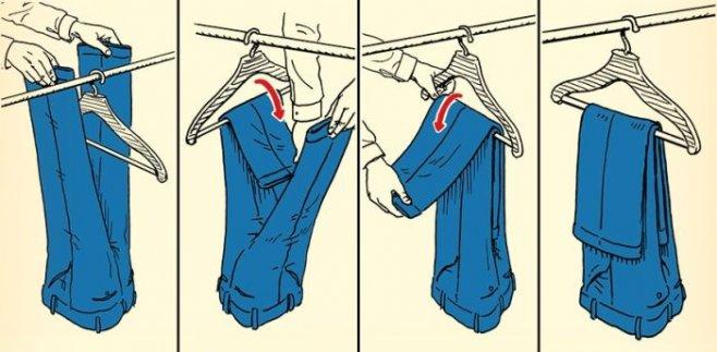 Учимся правильно вешать классические брюки на вешалку